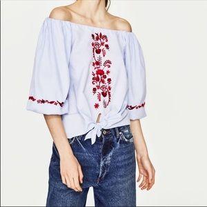 Zara embroidered off shoulder top XS